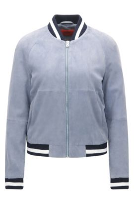 Relaxed-fit bomber jacket in soft suede, Light Blue