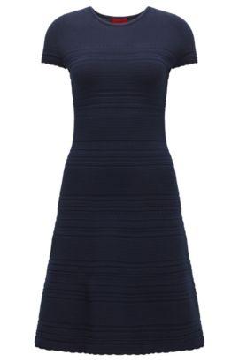 Slim-fit knit dress with scalloped hem , Dark Blue