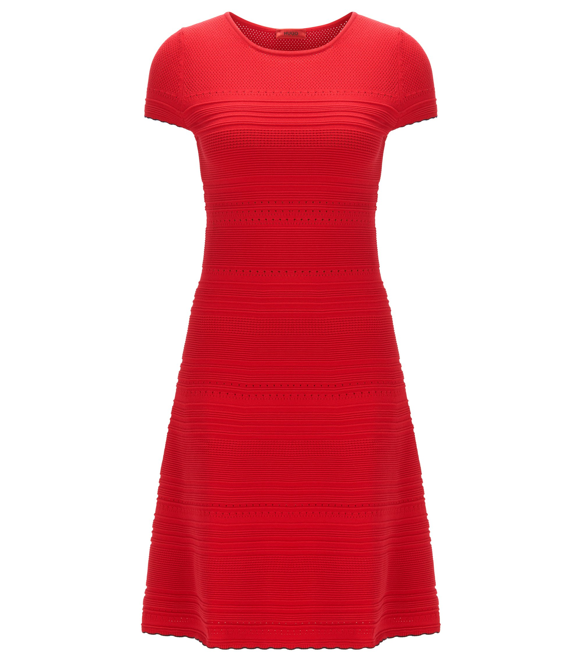 Slim-fit knit dress with scalloped hem , Red