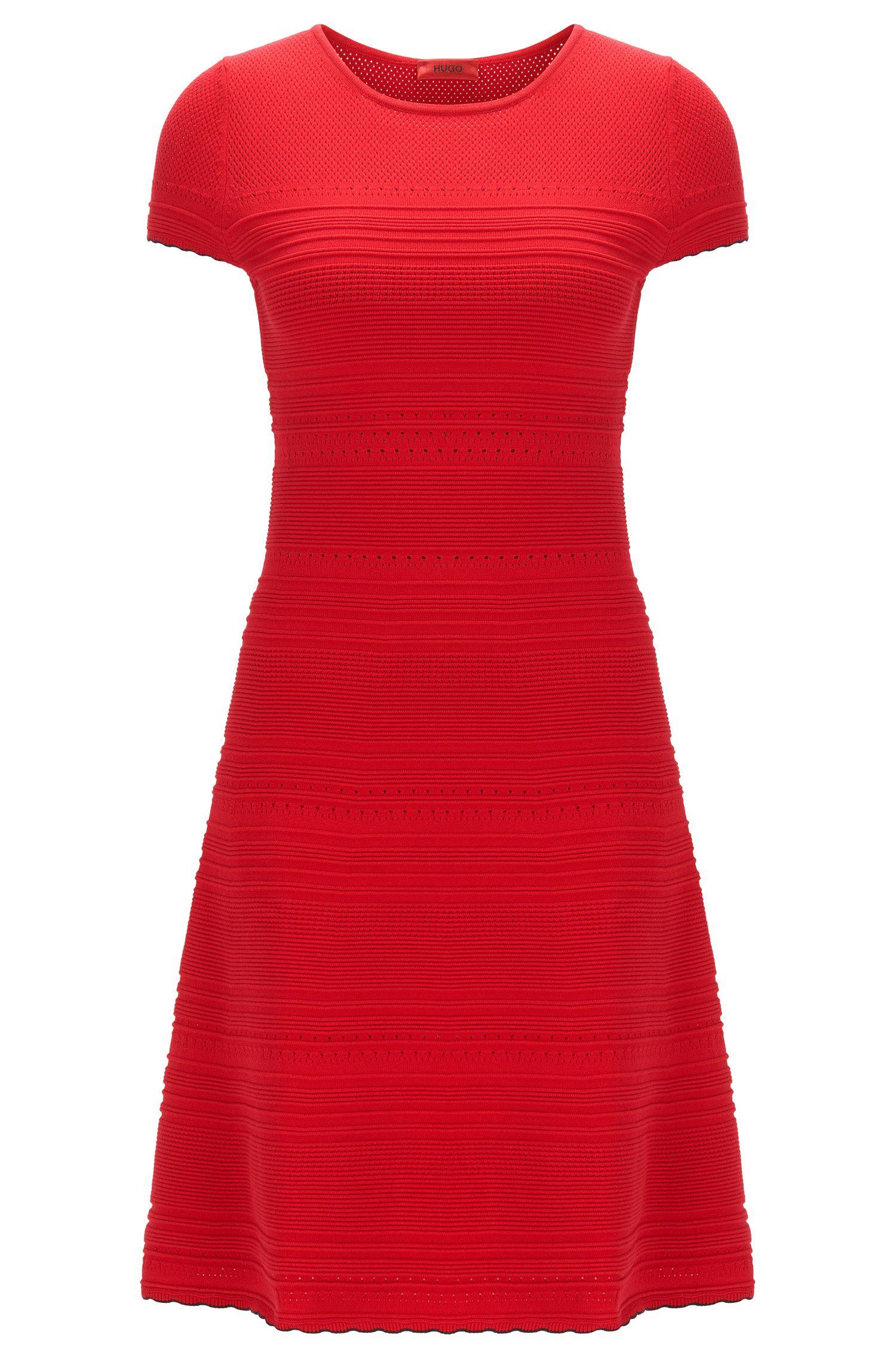 Slim-fit knit dress with scalloped hem