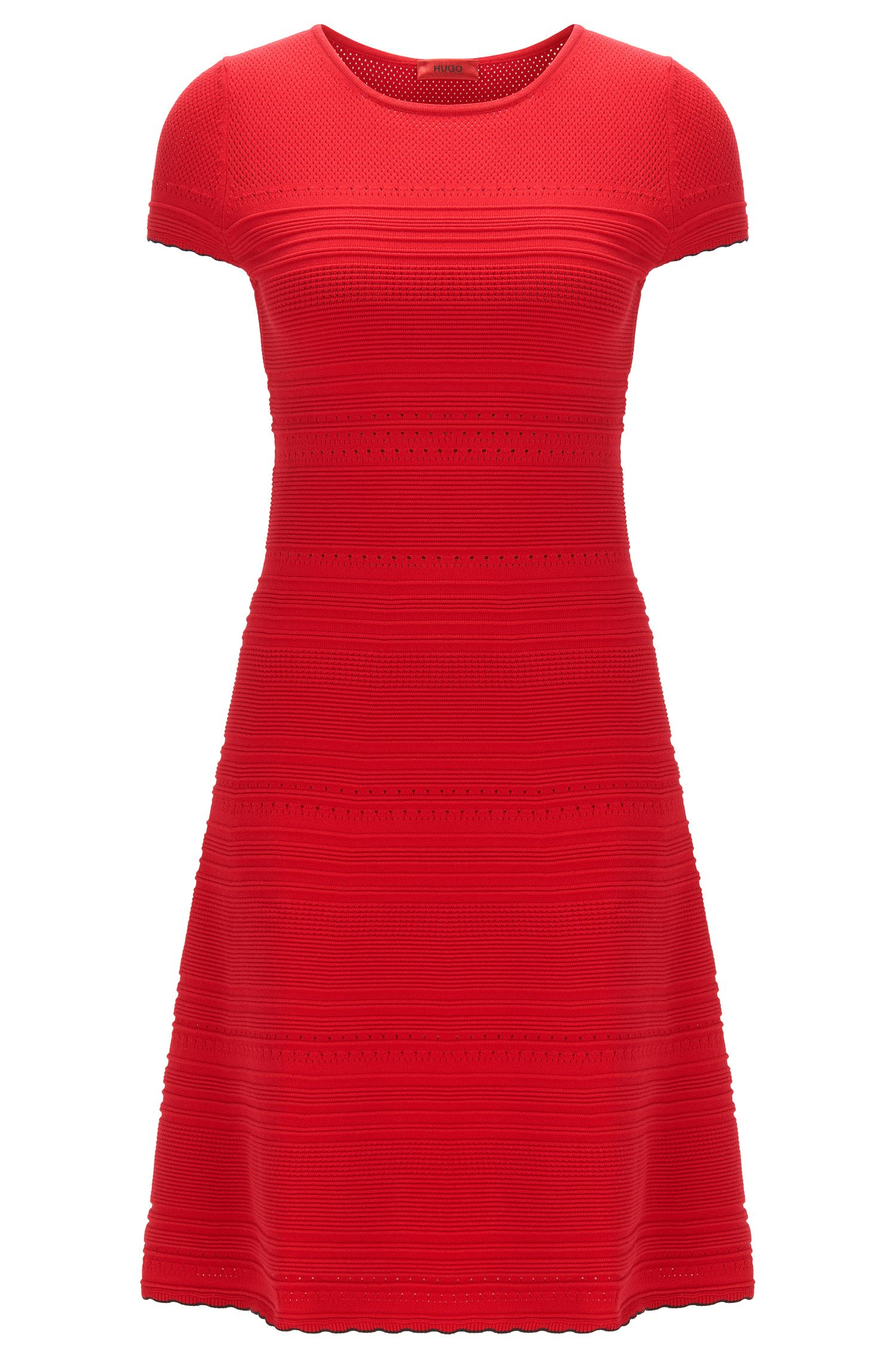 Slim-fit knit dress with scalloped hem