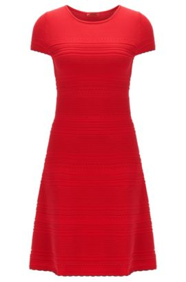 Robe en maille Slim Fit à base festonnée , Rouge