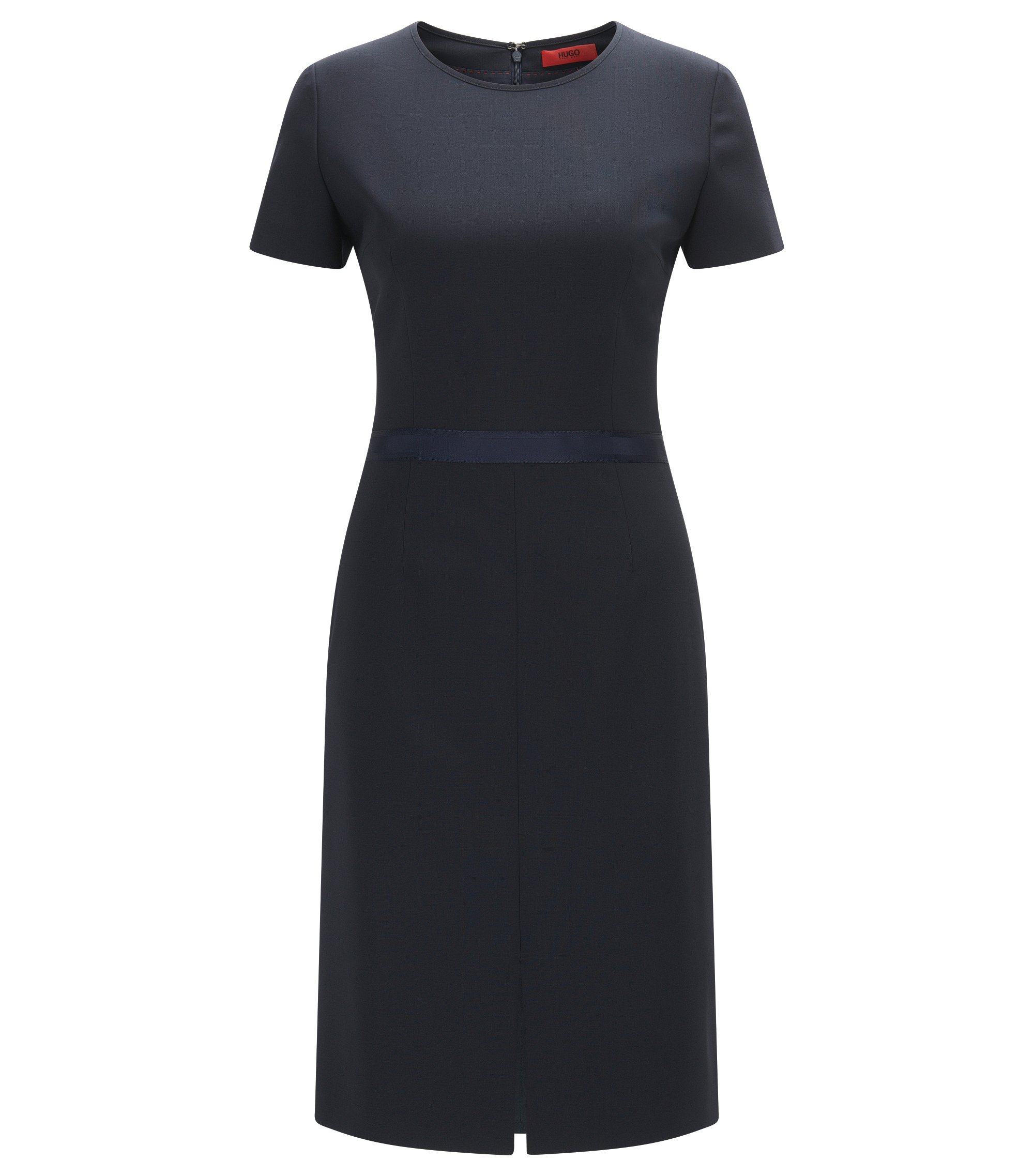 Regular-fit dress in virgin wool with ribbon, Dark Blue