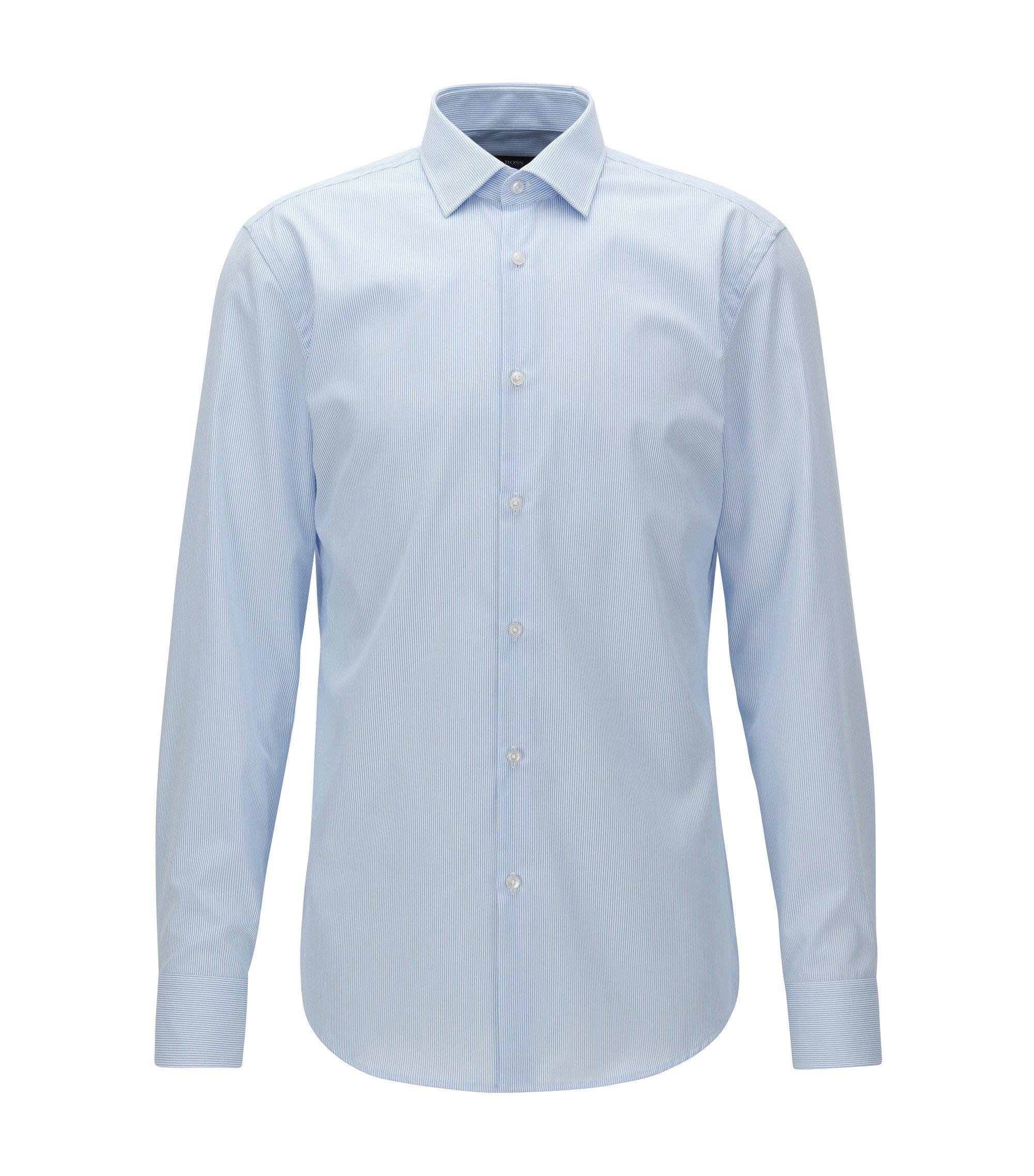 Slim-fit overhemd van gemakkelijk te strijken katoen met fijn streepdessin, Lichtblauw