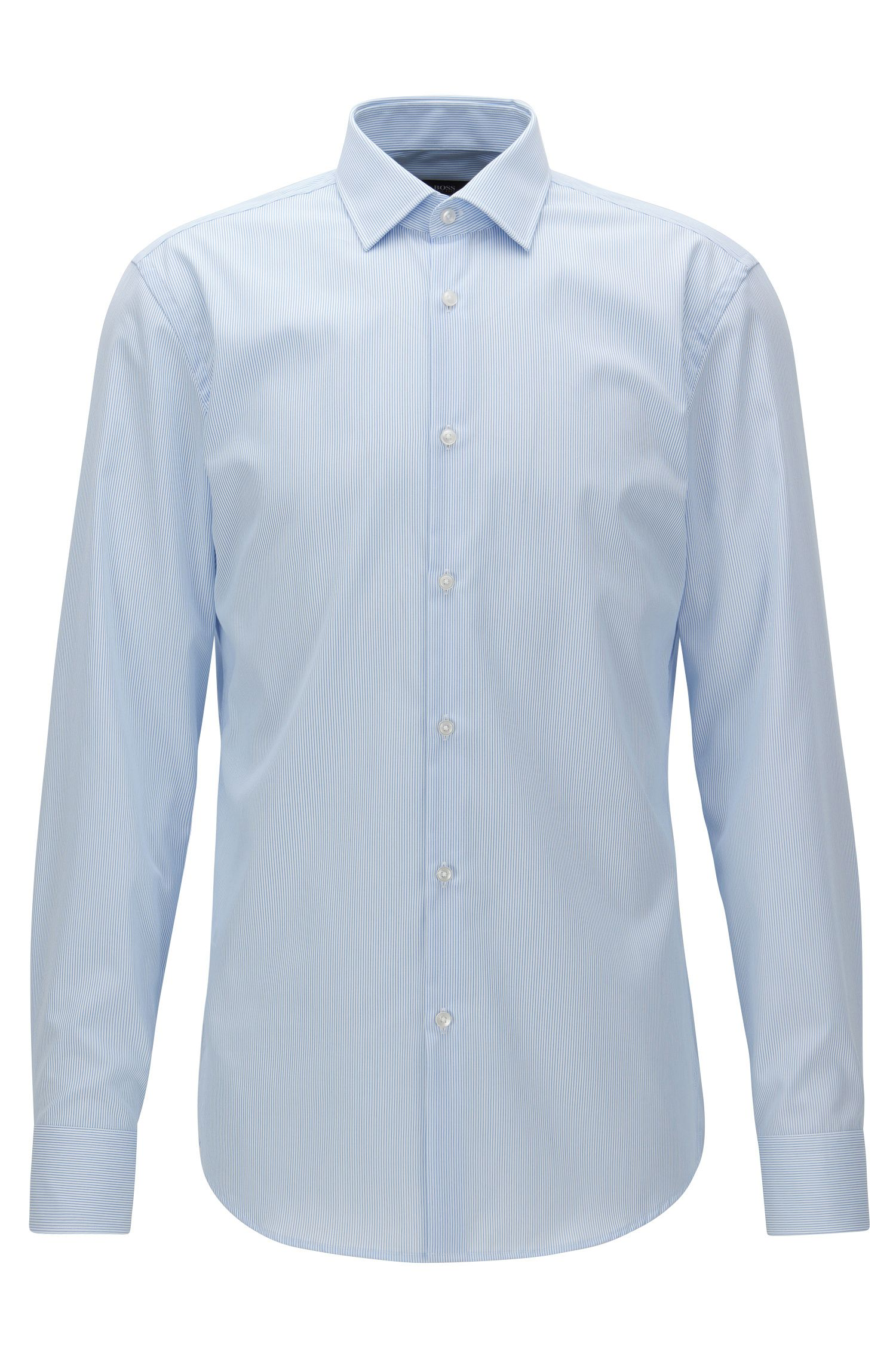 Finely striped easy-iron cotton shirt in a slim fit