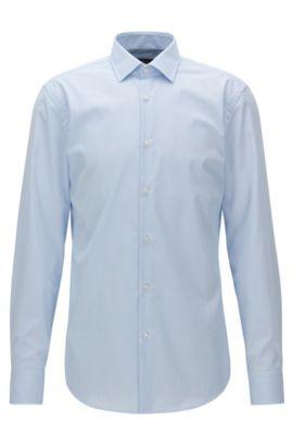 Camisa slim fit a rayas finas en algodón de planchado fácil, Celeste