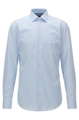 Finely striped easy-iron cotton shirt in a slim fit, Light Blue