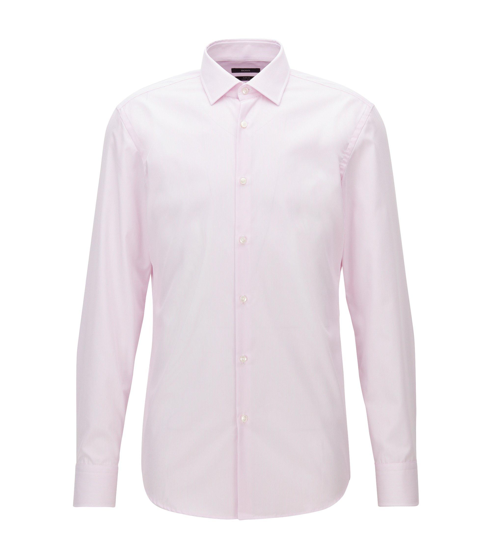 Slim-fit overhemd van gemakkelijk te strijken katoen met fijn streepdessin, Lichtroze