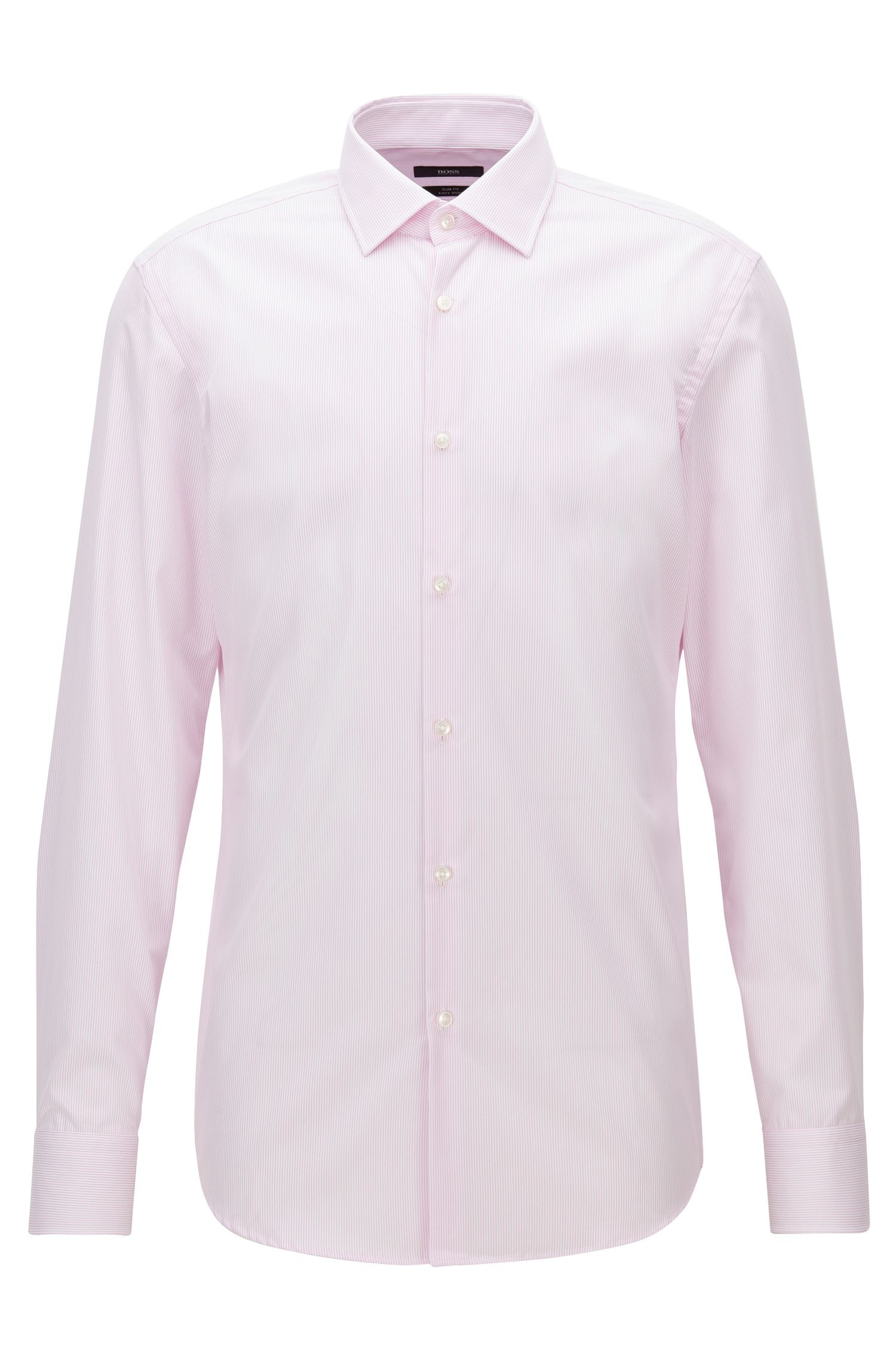 Camicia slim fit a righe sottili in cotone facile da stirare