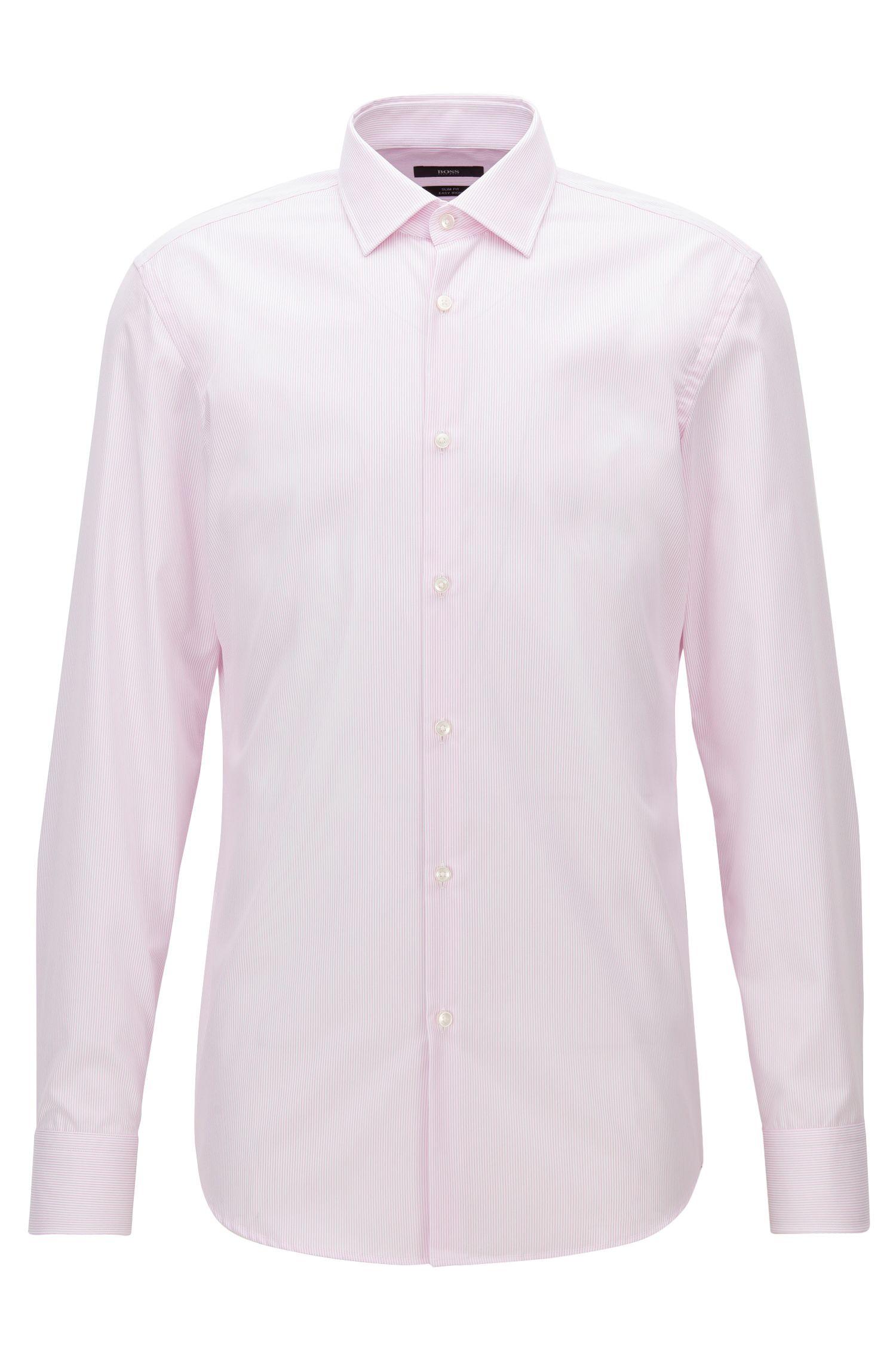 Slim-fit overhemd van gemakkelijk te strijken katoen met fijn streepdessin