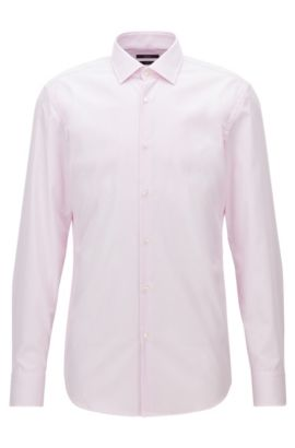 Finely striped easy-iron cotton shirt in a slim fit, light pink