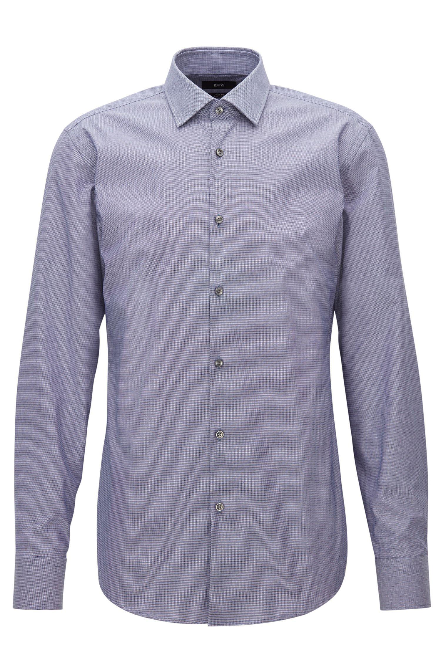 Fein kariertes Slim-Fit Hemd aus Baumwolle