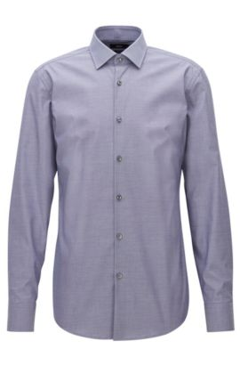 Finely checked cotton shirt in a slim fit, Dark Blue