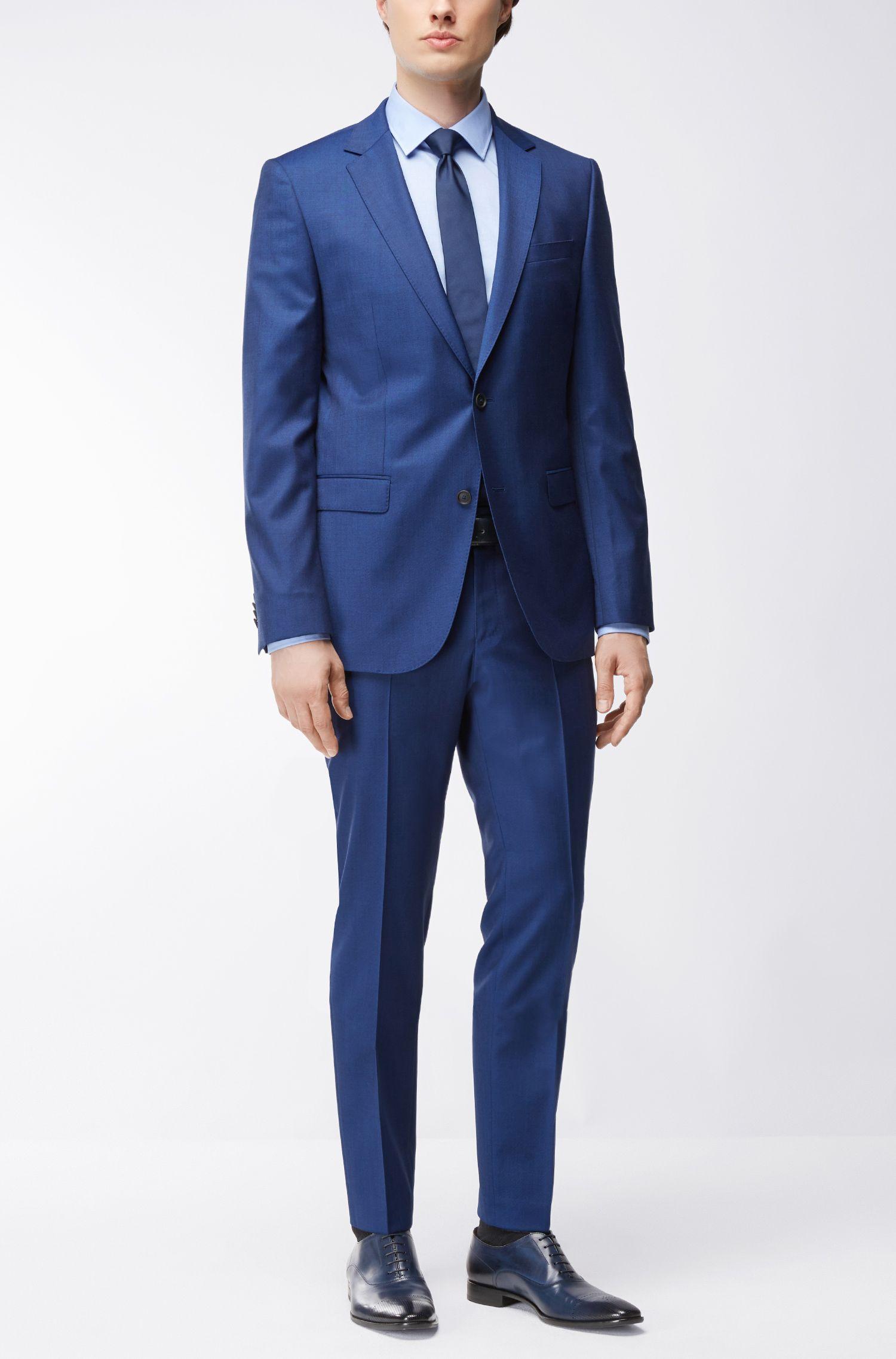 Chemise Slim Fit en coton à fins carreaux, Bleu vif