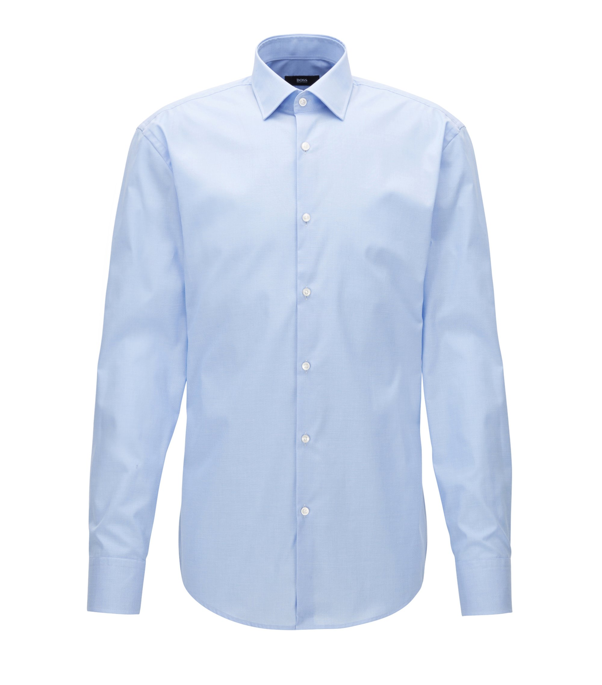 Finely checked cotton shirt in a slim fit, Light Blue