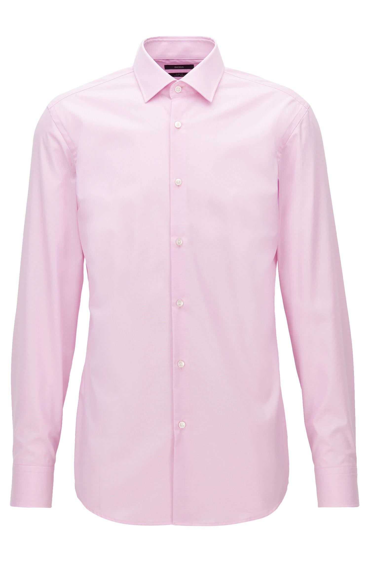 Camisa slim fit en tejido de algodón a cuadros discretos, Rosa claro