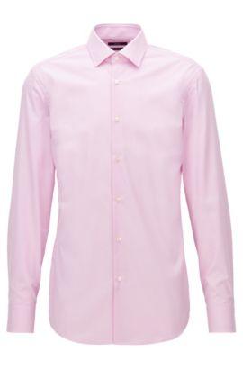 Camicia slim fit in raffinato cotone a quadretti, Rosa chiaro
