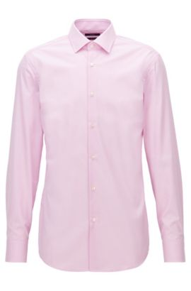 Finely checked cotton shirt in a slim fit, Hellrosa