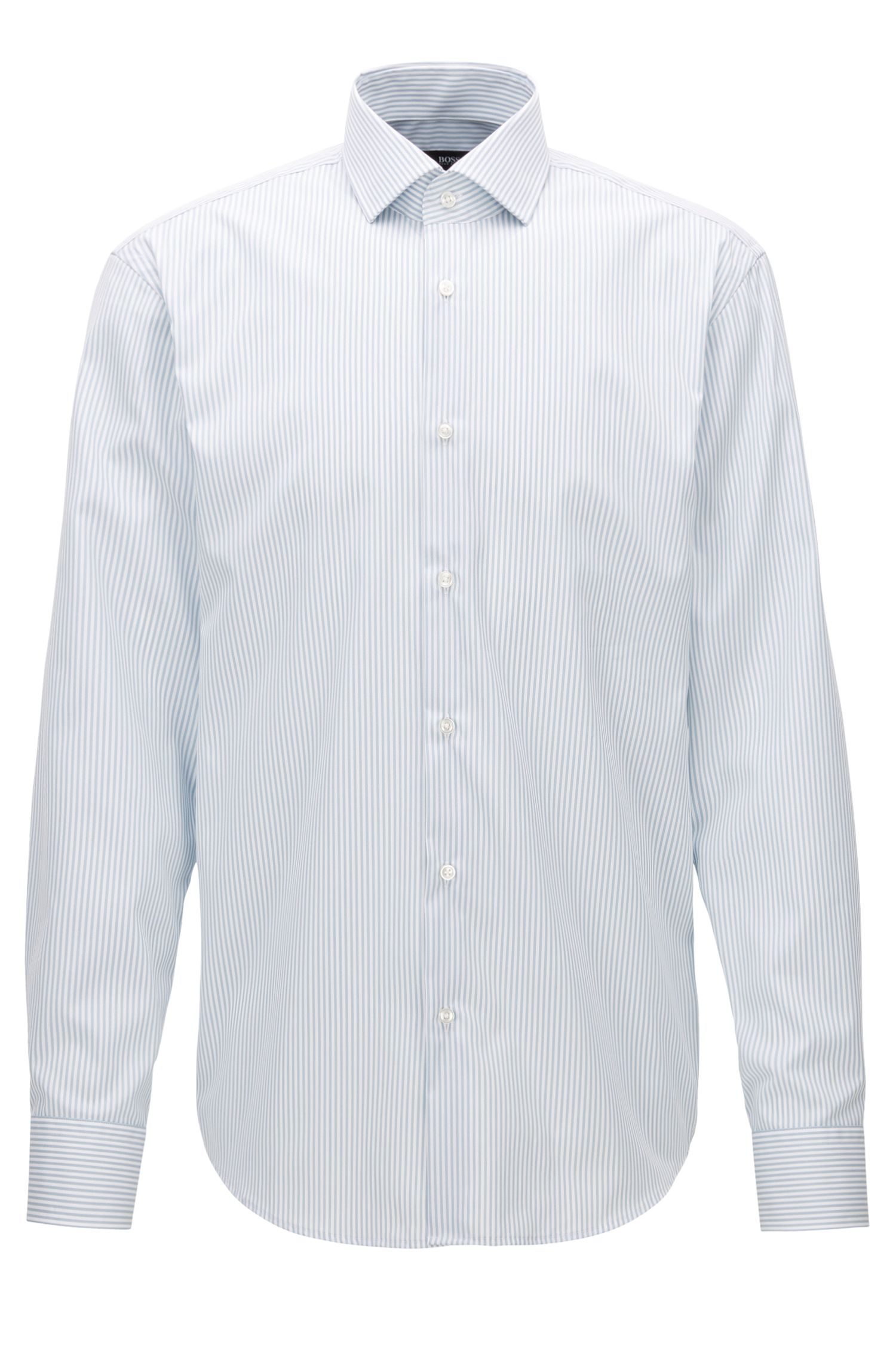Camisa regular fit en algodón a rayas