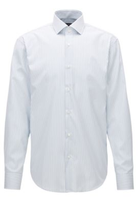 Striped cotton shirt in a regular fit, Silver