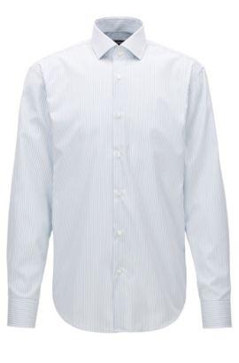 Regular-fit overhemd van katoen met strepen, Zilver