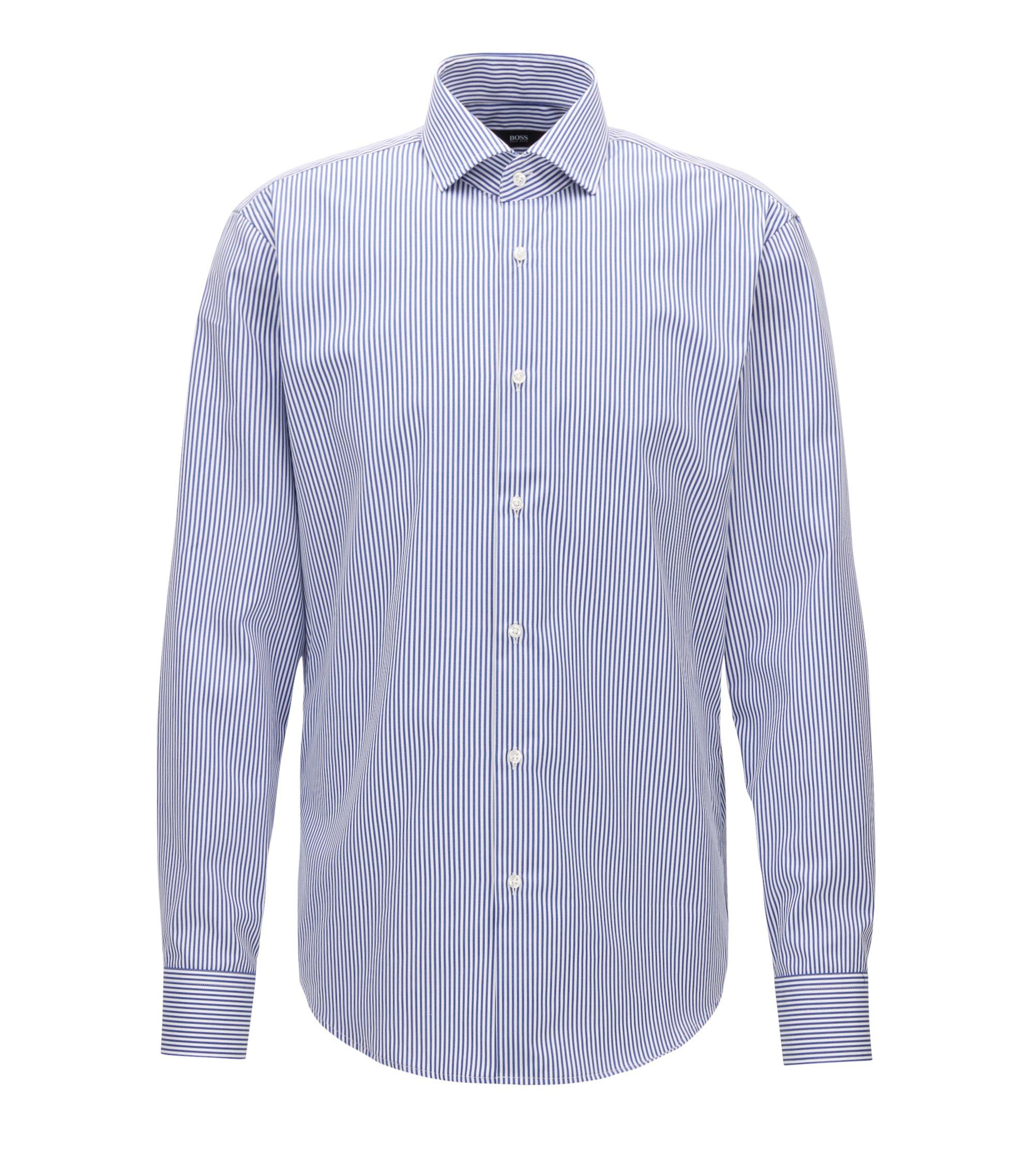 Gestreiftes Regular-Fit Hemd aus Baumwolle, Blau