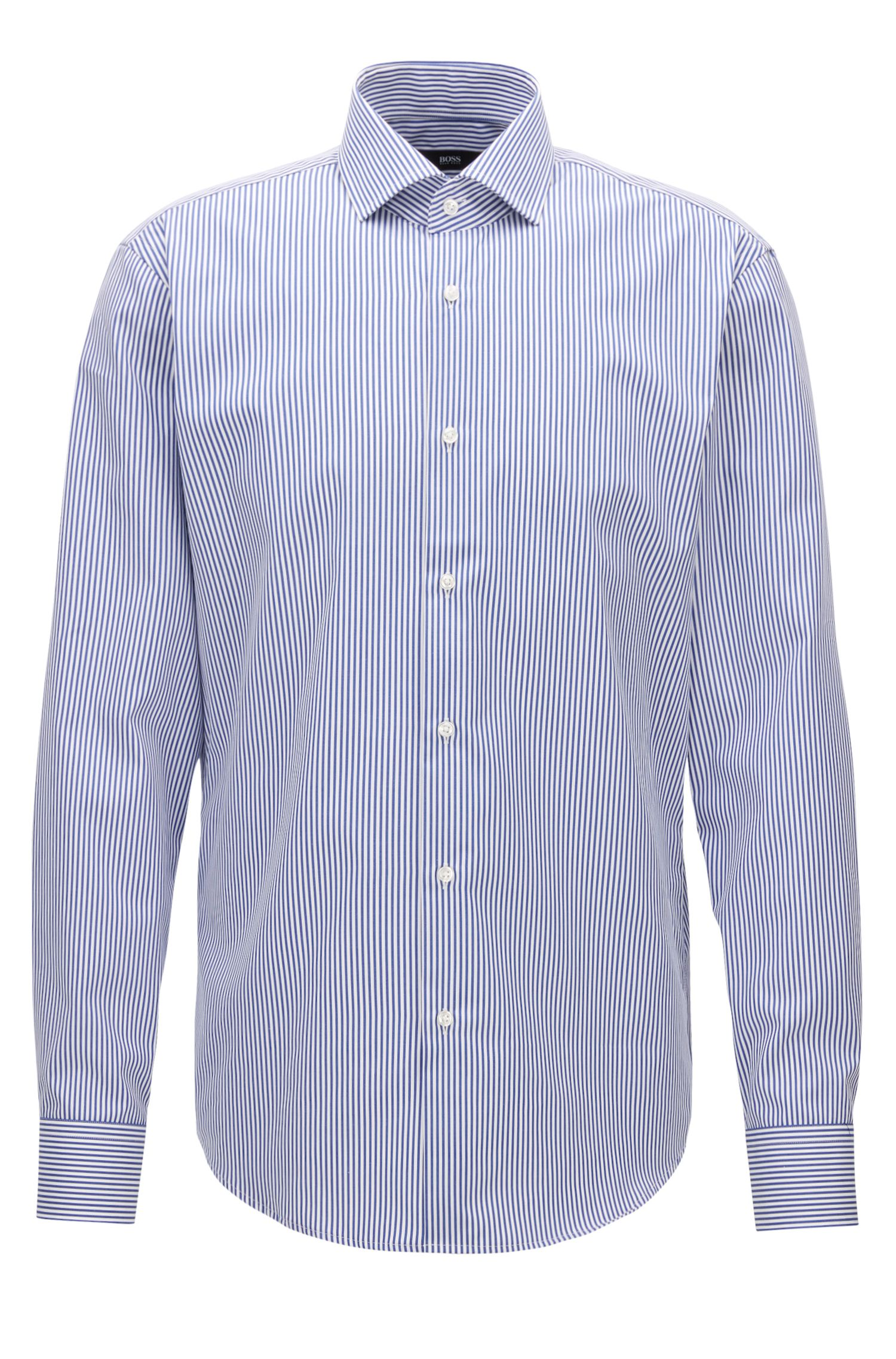 Regular-fit overhemd van katoen met strepen, Blauw