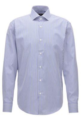 Camisa regular fit en algodón a rayas, Azul