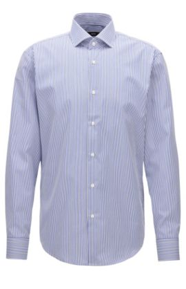 Camicia regular fit in cotone a righe, Blu