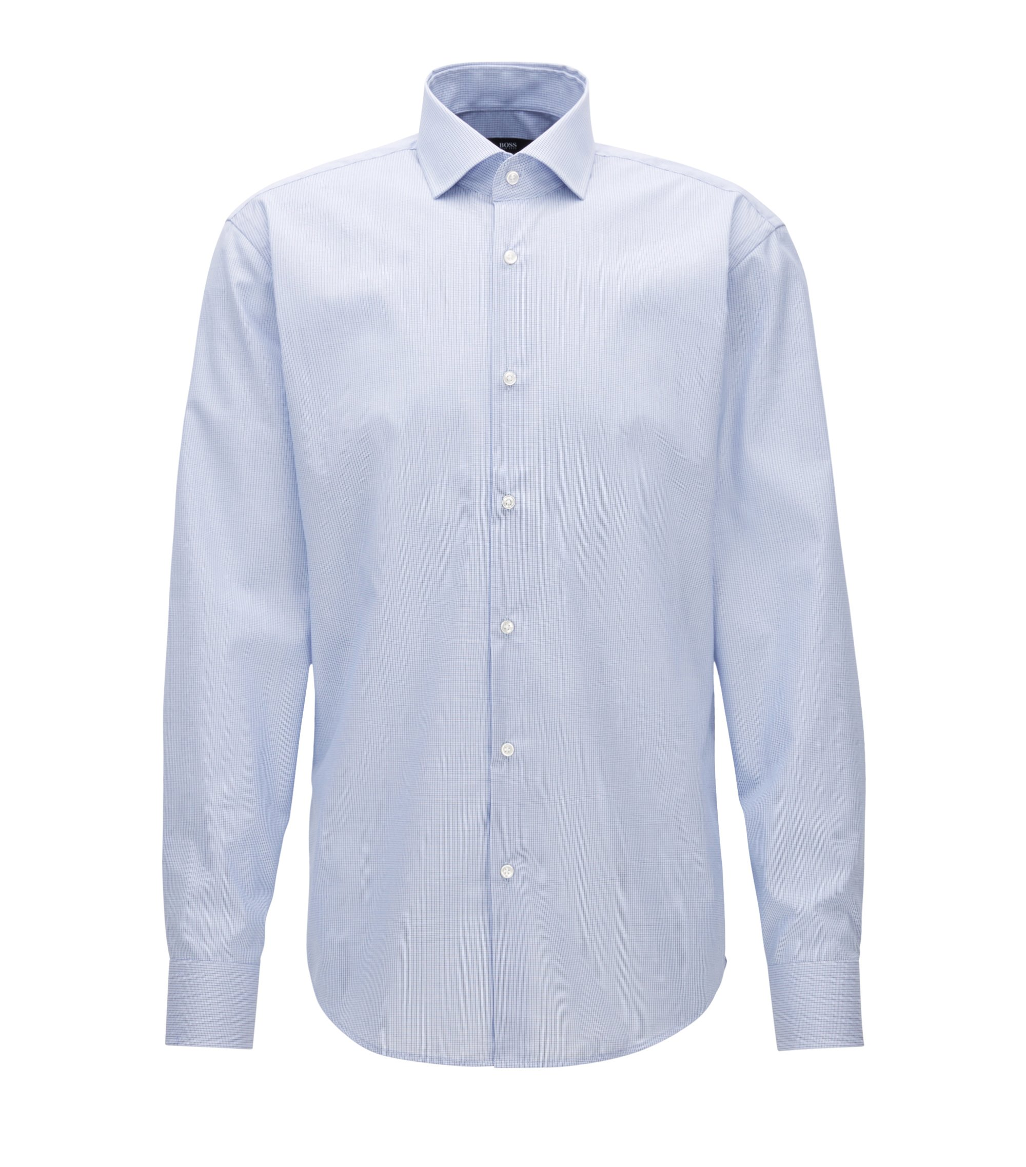 Camicia regular fit in cotone a quadretti, Blu