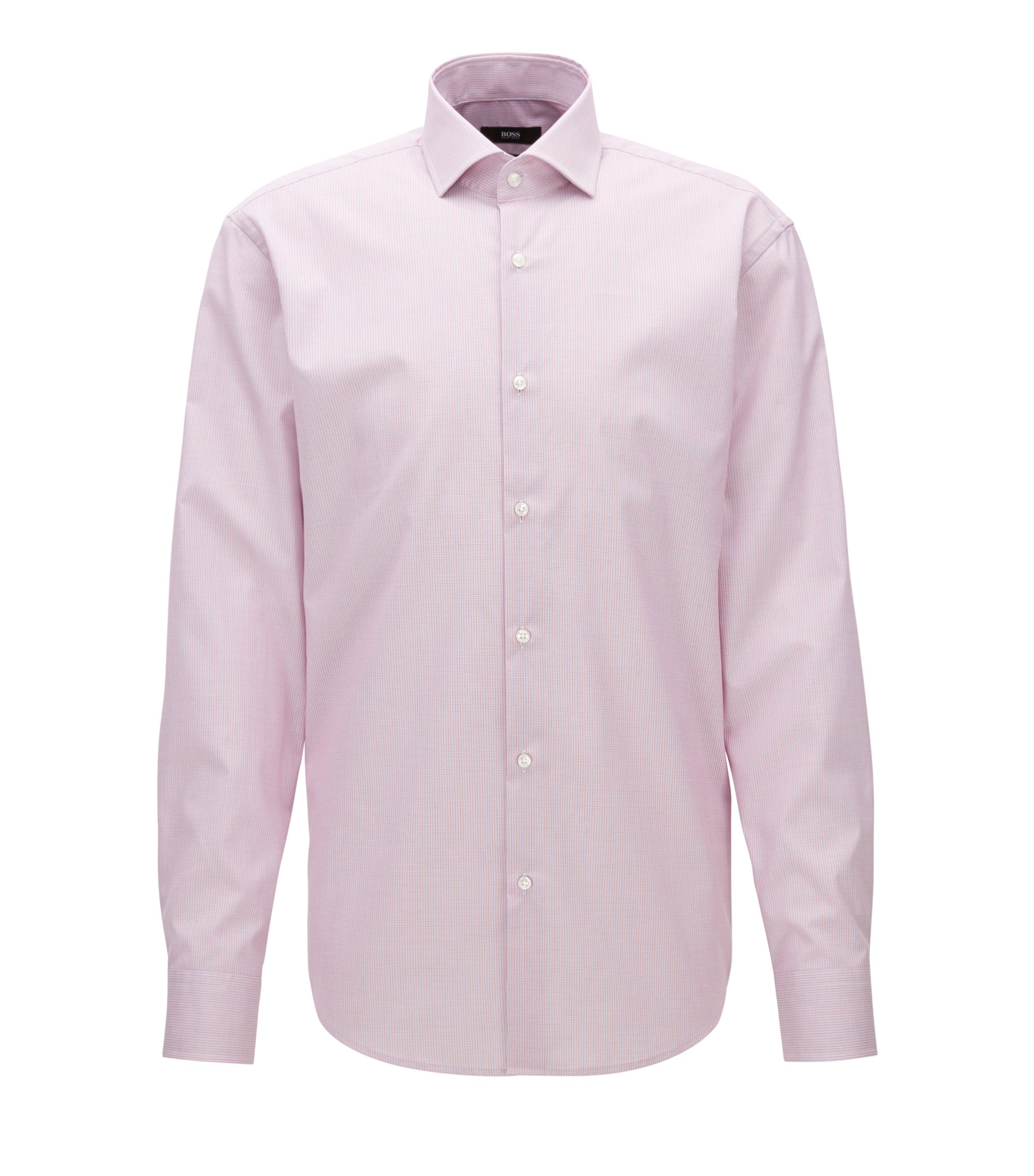 Camisa regular fit en algodón a cuadros discretos, Rojo