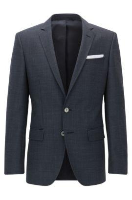 Slim-fit jacket in patterned virgin wool, Dark Blue