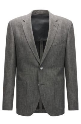 Regular-fit jacket in a two-tone woven structure, Grey