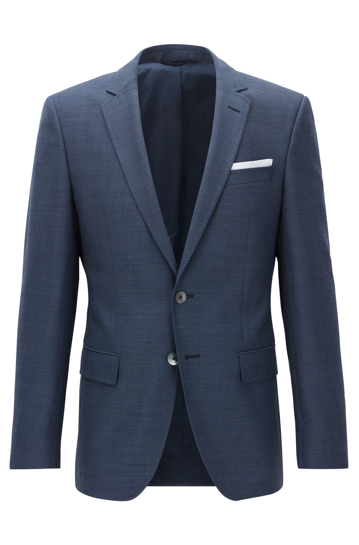 Slim-fit patterned virgin-wool jacket with pocket square