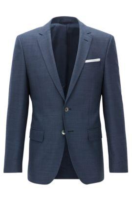 Gemustertes Slim-Fit Sakko aus Schurwolle mit Einstecktuch, Blau