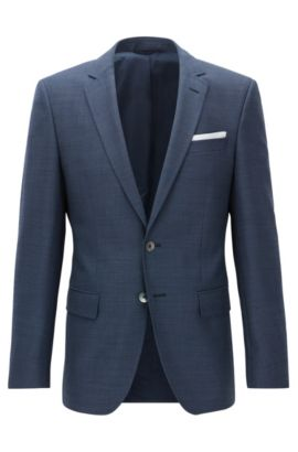 Slim-fit patterned virgin-wool jacket with pocket square, Blue