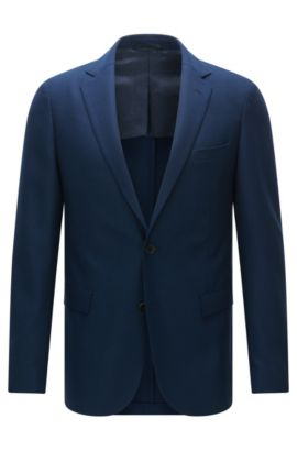 Americana extra slim fit en lana virgen elástica, Azul oscuro