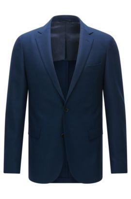 Veste Extra Slim Fit en laine vierge stretch, Bleu foncé