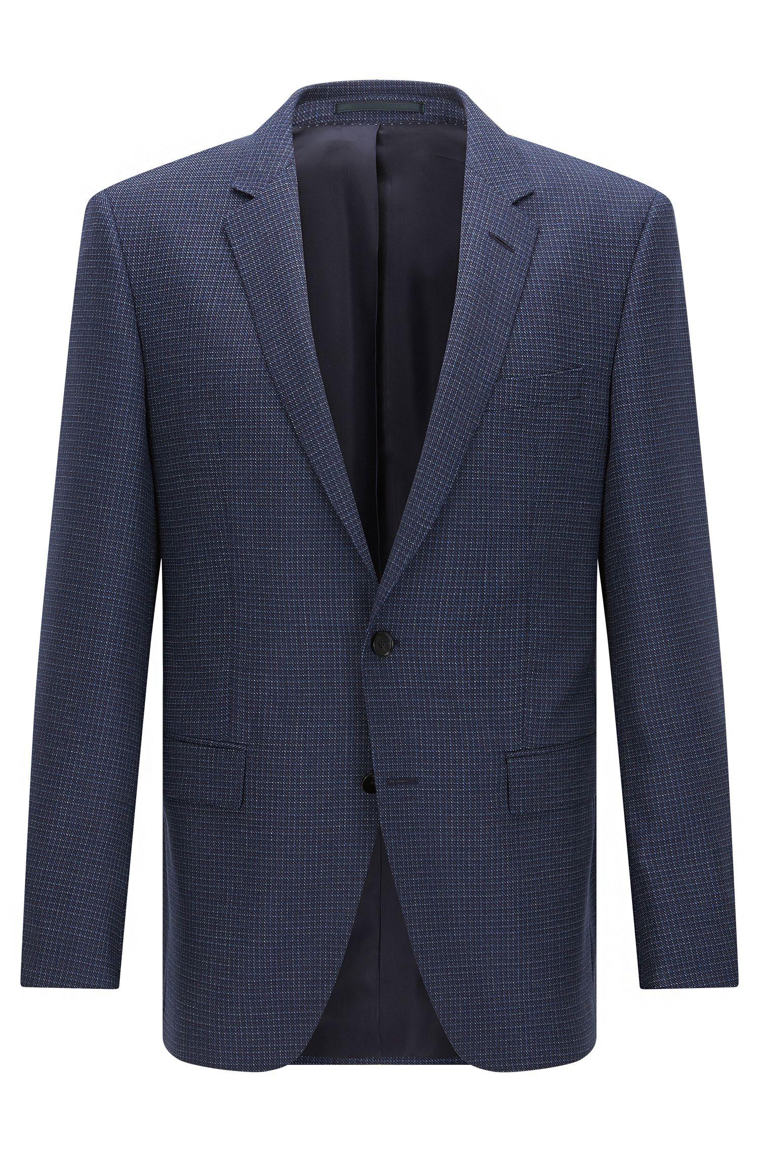 Slim-fit checked jacket in virgin wool
