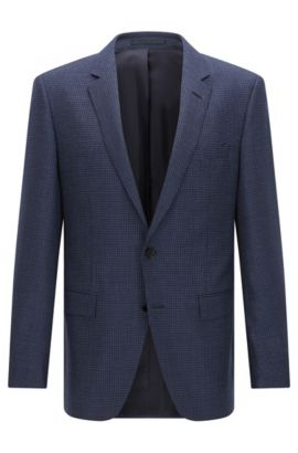 Slim-fit checked jacket in virgin wool, Dark Blue