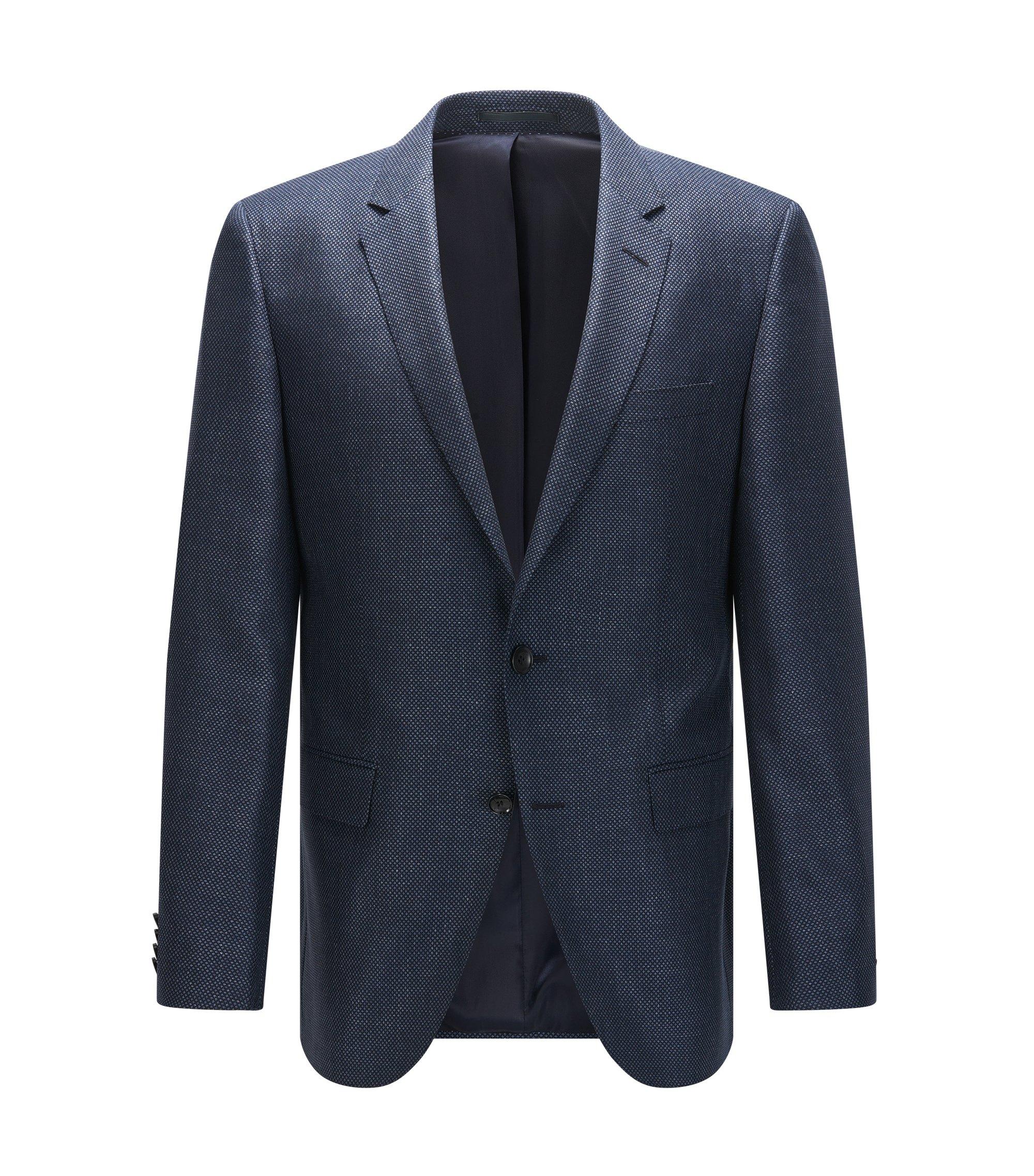 Slim-fit colbert van een mix van wol en zijde met dessin, Donkerblauw