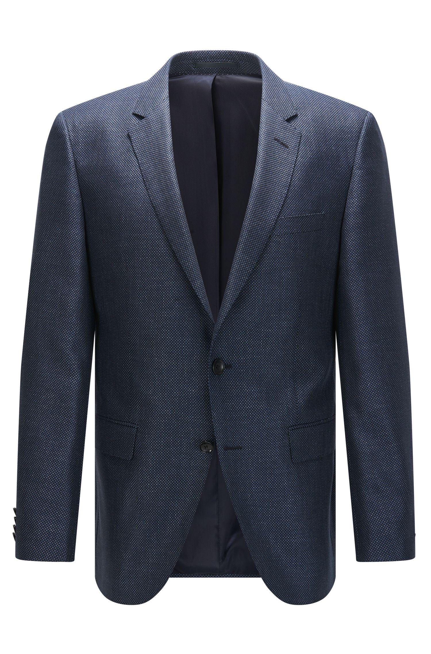 Giacca slim fit in misto seta con lana vergine a disegni