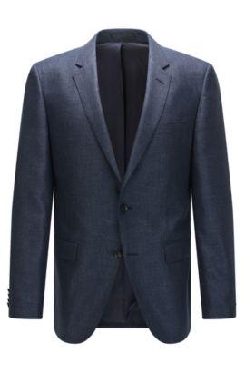 Giacca slim fit in misto seta con lana vergine a disegni, Blu scuro