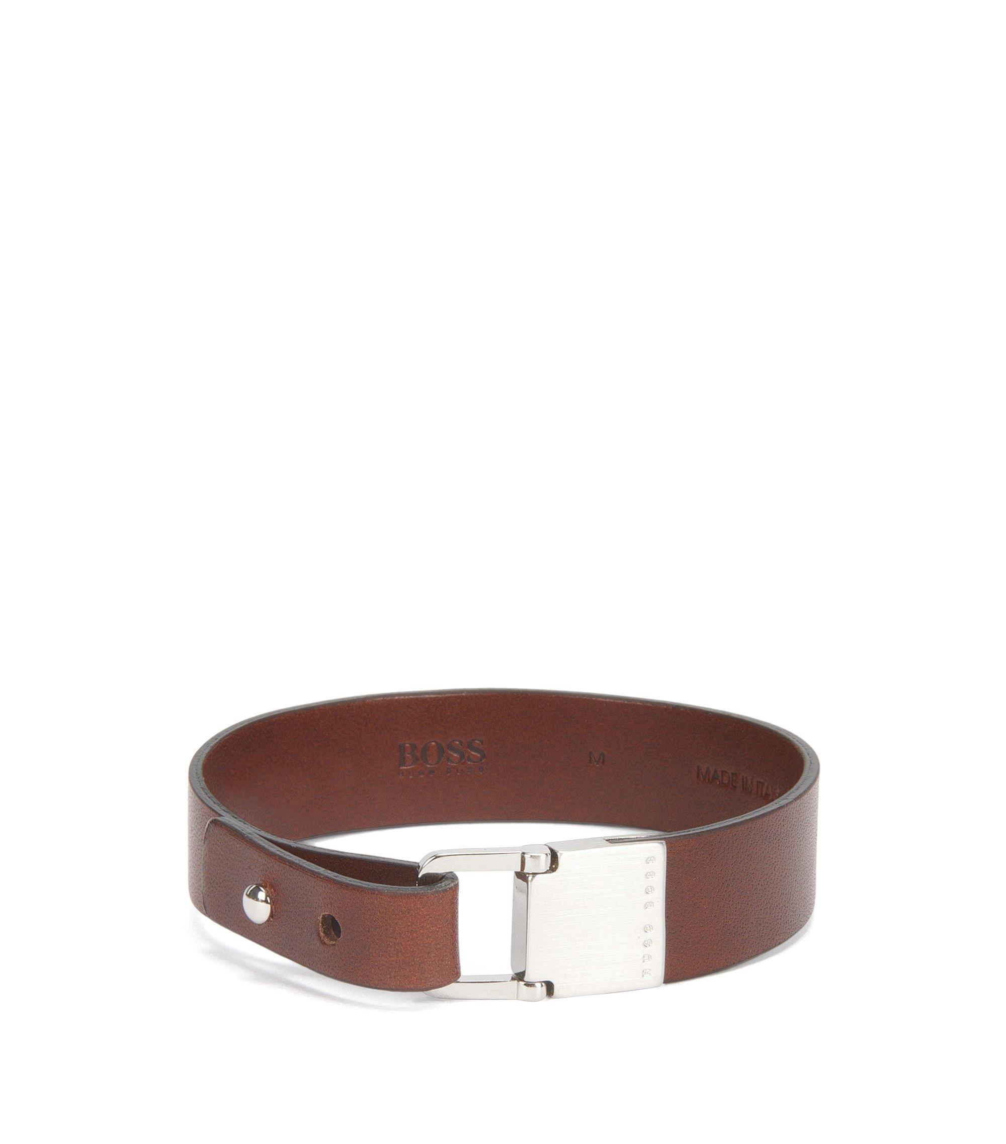 Armband aus Leder mit gebürstetem Metall-Verschluss, Braun