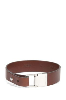 Leather bracelet with brushed metal closure, Brown