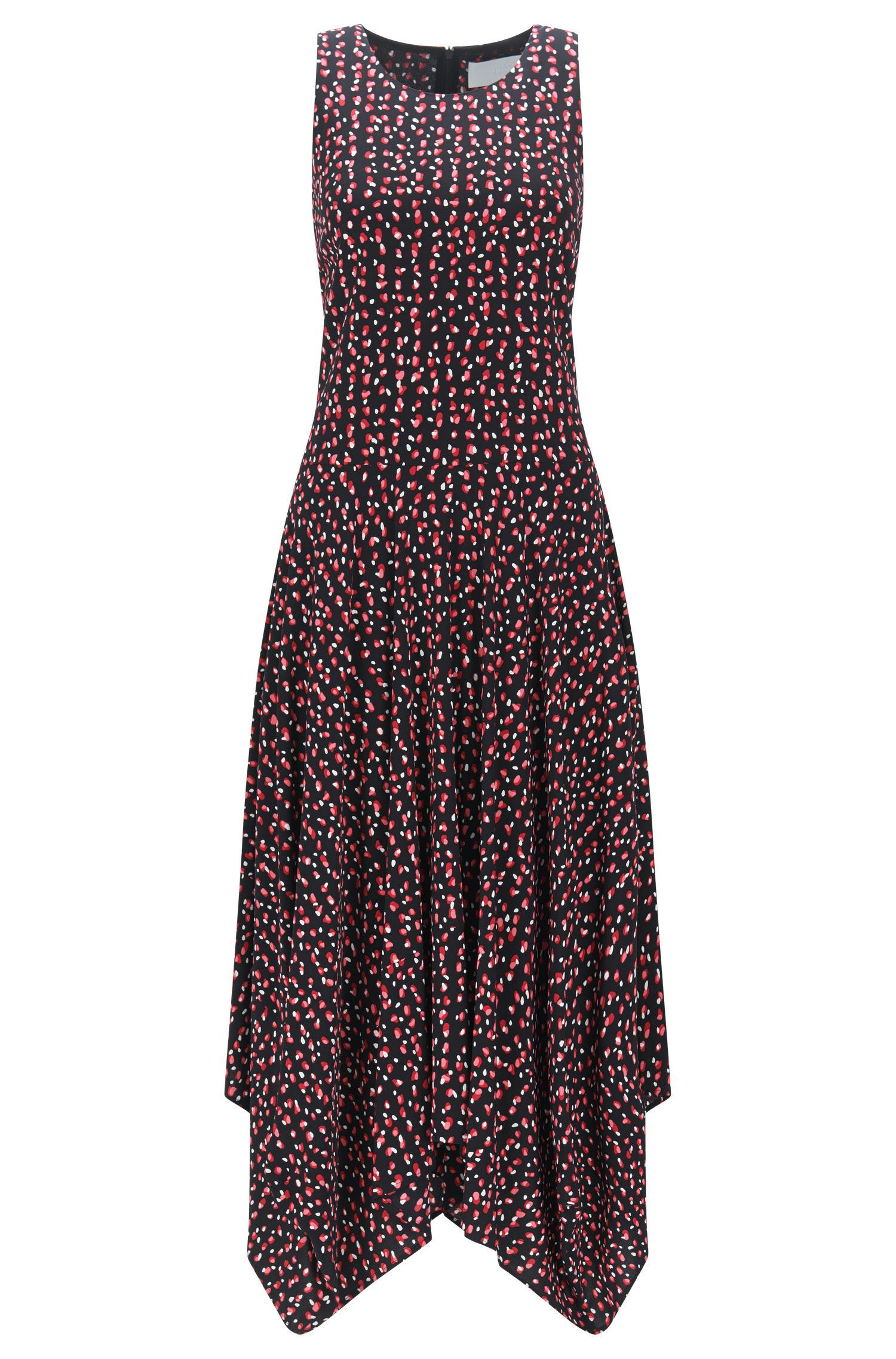 Relaxed-fit printed dress in soft crêpe