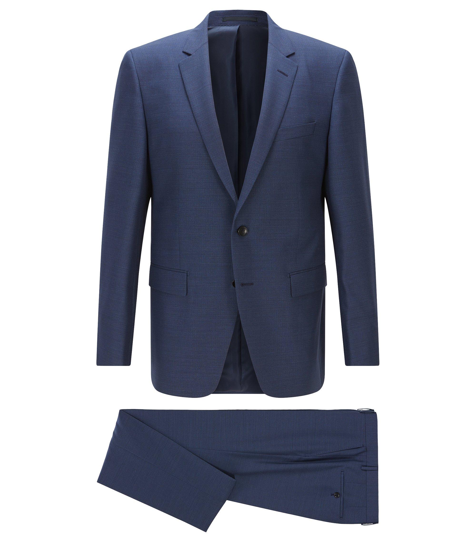 Slim-fit kostuum van gemêleerde scheerwol, Donkerblauw
