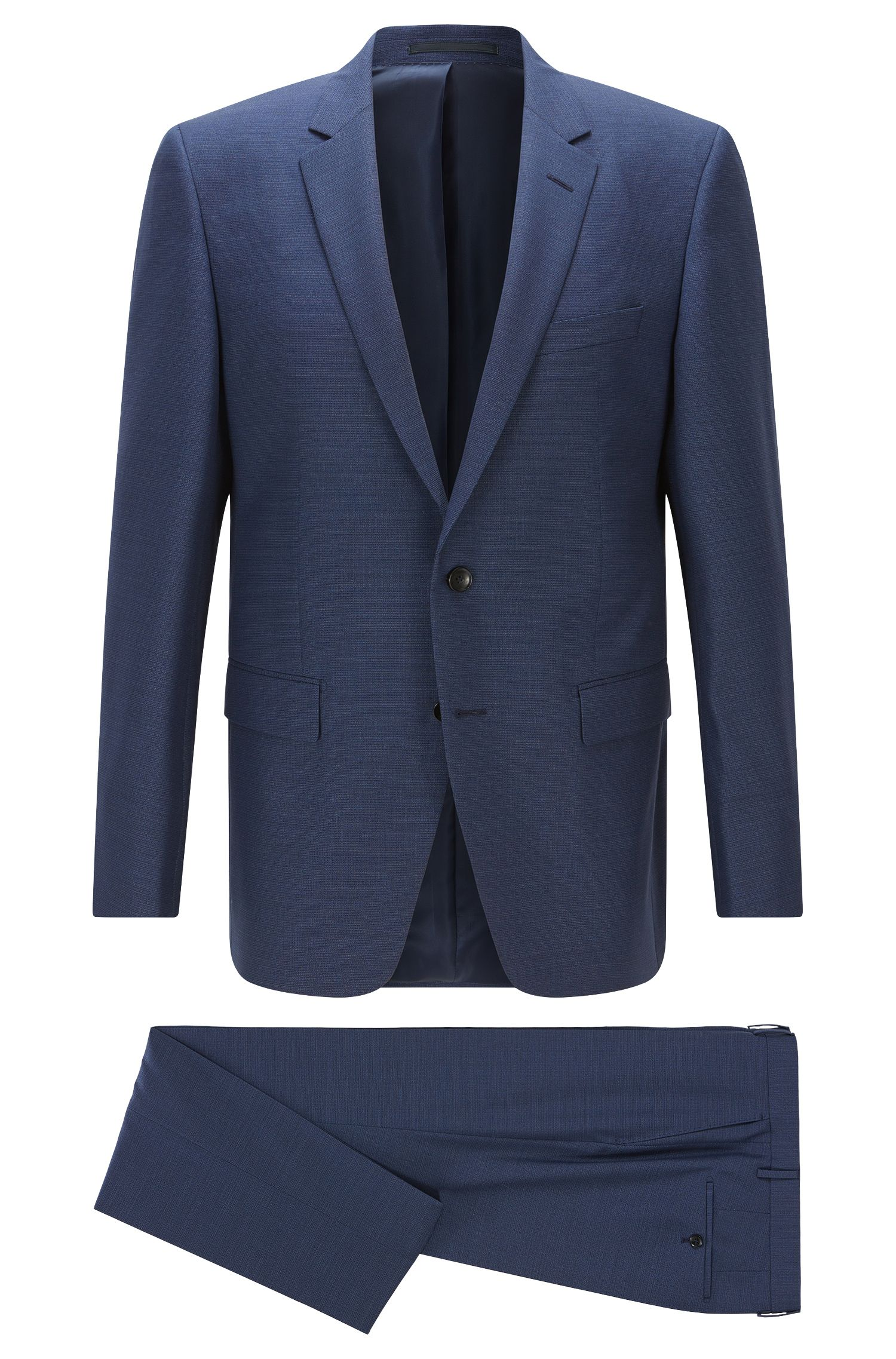 Slim-fit suit in melange virgin wool