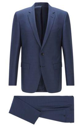 Costume Slim Fit en laine vierge mélangée, Bleu foncé