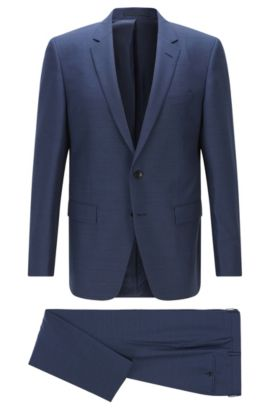 Slim-fit suit in melange virgin wool, Dark Blue